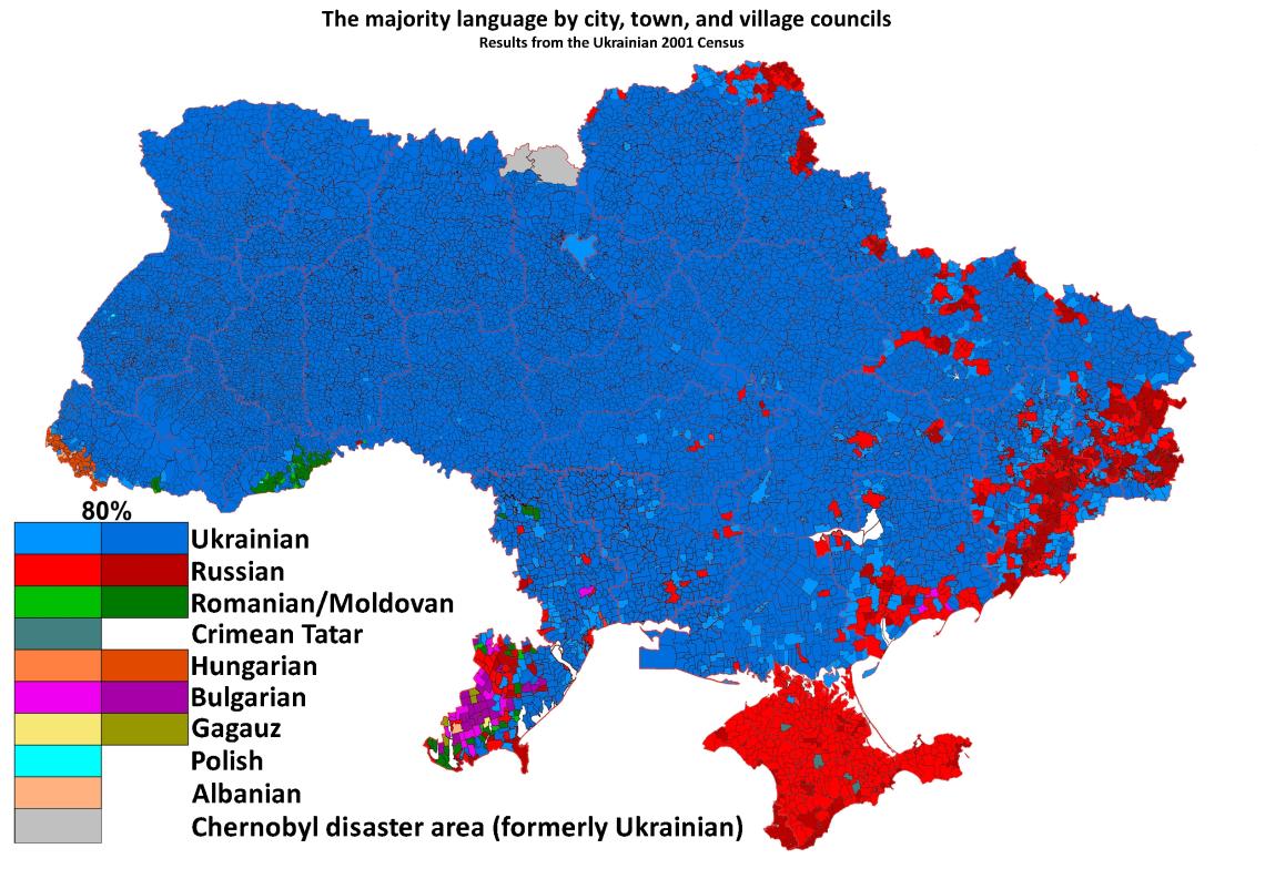 Regiones de ucraniana con mayorías ruso parlantes
